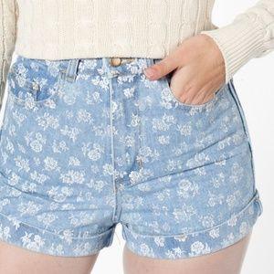 American Aparel floral jean shorts